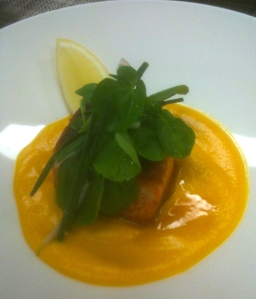 Salmon on Pumpkin and Ginger Puree